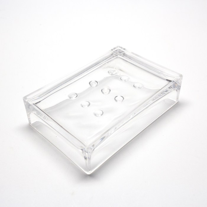 Rectangle Accessories Bath Soap Holder Dish Clear