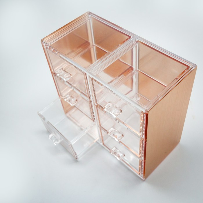 Rose Gold Mini Desktop Storage Box with 6 Drawers