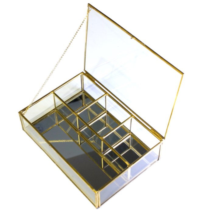 Four Grids Vintage Cooper Decorative Jewelry&Accessories Mirrored Shadow Glass Organizer