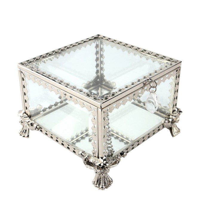 Vintage Decorative Jewelry&Accessories Mirrored Shadow Glass Organizer