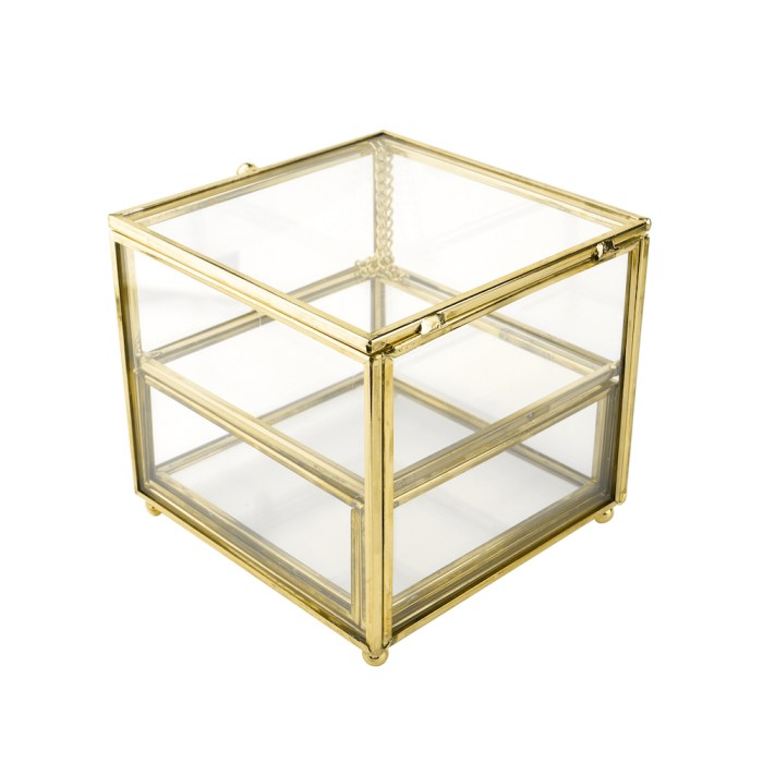Vintage copper Metal Cube Clamshell Accessories Organizer
