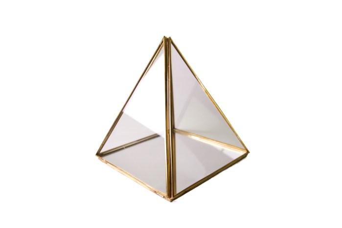Small Vintage Copper Metal Pyramid Accessories Organizer