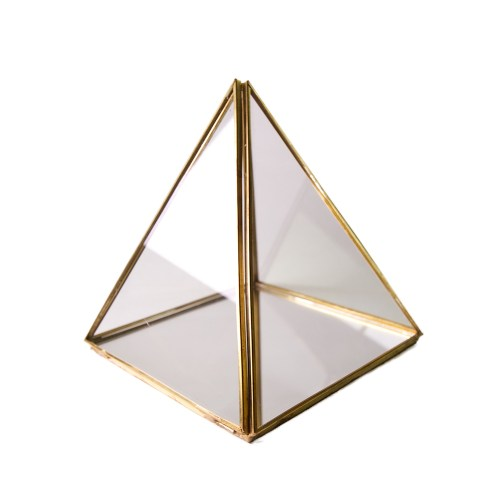 Small Vintage Copper Metal Pyramid Accessories Organizer