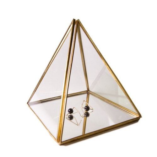 Large Vintage Copper Metal Pyramid Accessories Organizer