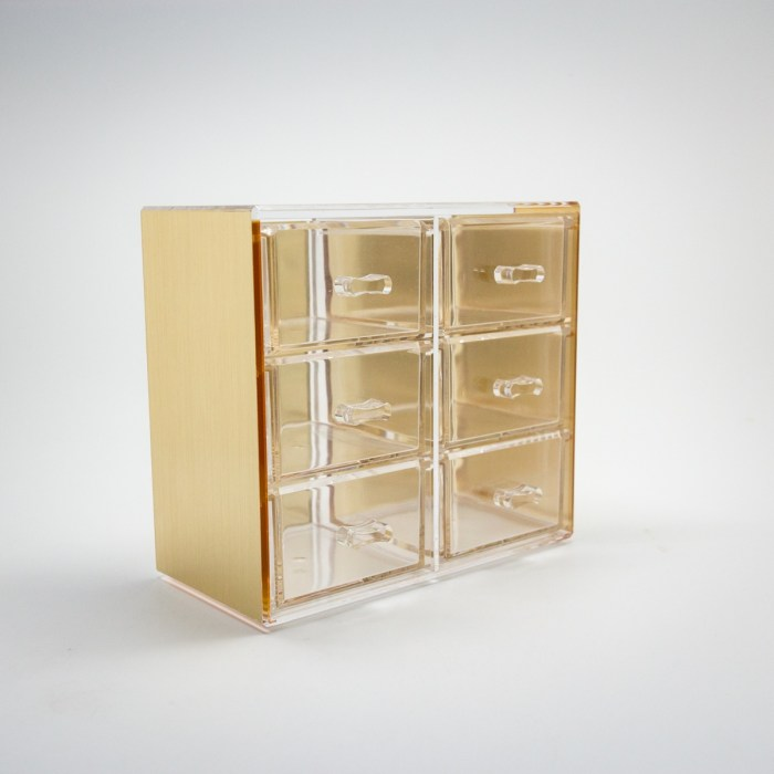 Gold Mini Desktop Storage Box with 6 Drawers