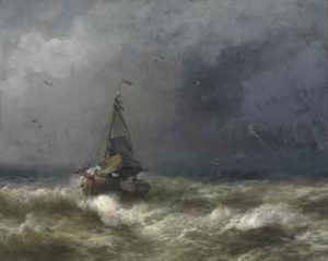 Fishingboat in a storm av Hermann Herzog