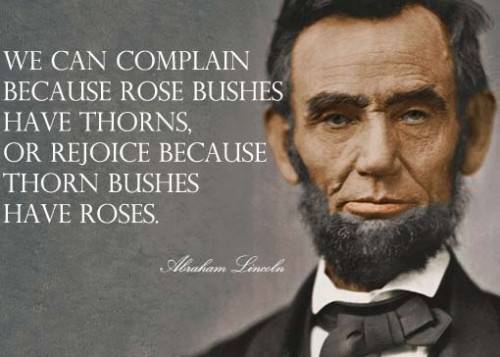 """We can complain because rose bushes have thorns, or rejoice because thorn bushes have roses."""