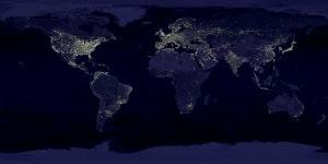 Mapa de La Tierra de noche