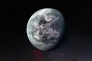 Recreación artística del exoplaneta HD 85512b, que podría tener agua líquida. Es uno de los mejores candidatos a ser habitable.