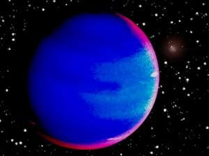 Recreación artística de Pollux B, un exoplaneta que orbita alrededor de la estrella gigante Pollux