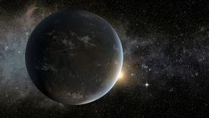 Recreación artística del exoplaneta Kepler 62f