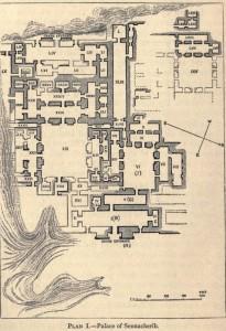 Plano del Palacio de Senaquerib, en el que se encontraba la Biblioteca de Asurbanipal, que, a su vez, contenía la tablilla de Venus de Ammisaduqa