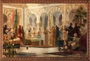 Hasday Ibn Shaprut en la Corte de Abderramán III. Cuadro de Dionís Baixeras 1885. Universidad de Barcelona