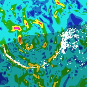 Esta es una recreación del mapa de anomalía gravitacional de la zona del cráter de Chicxulub. ¿Reconoces dónde está?