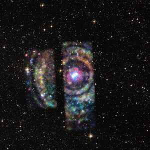 Circinus X-1 es un sistema binario que contiene una estrella de neutrones. En esta imagen, se puede ver los anillos de luz de rayos X emitidos por la estrella, rodeando al sistema.