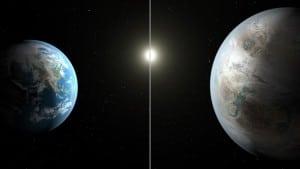 En este concepto artístico se compara la Tierra y el Sol (parte izquierda de la imagen) con Kepler-462b y Kepler-462 (derecha). Credits: NASA/JPL-Caltech/T. Pyle