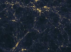 Aunque pueda parecer la foto de alguna zona urbana. Esta imagen es una simulación de cómo puede ser la estructura del universo a gran escala (el tamaño de esta imagen sería de 50 millones de años-luz). Crédito: Andrew Pontzen y Fabio Governato