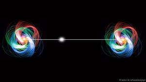 Dos partículas separadas por una enorme distancia pueden estar entrelazadas y compartir información. Crédito: Victor de Schwanberg/SPL