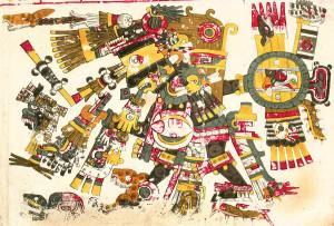 Tezcatlipoca, tal y como aparece en el Códice Borgia.