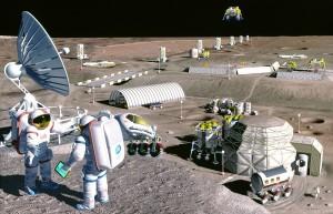 Concepto artístico de una base lunar (sí, en la NASA parece que tienen fijación por crear conceptos artísticos de bases lunares). Crédito: NASA