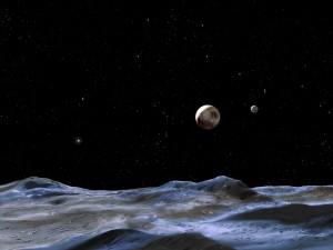Concepto artístico de Plutón y Caronte visto desde uno de los satélites de Plutón. Crédito: NASA