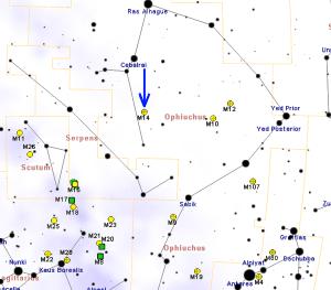 Cómo localizar el cúmulo globular Messier 14. Crédito: Roberto Mura