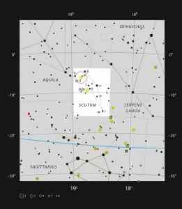 Esta imagen muestra la ubicación de Messier 11, el cúmulo del Pato Salvaje. Crédito: ESO, IAU and Sky & Telescope