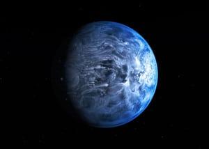 Concepto artístico de HD 189733 b. Crédito: ESA/Hubble