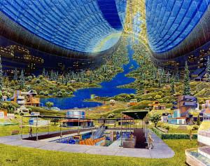 Éste es el concepto artístico de un Toro de Stanford. Un hábitat espacial que podría albergar de 10.000 a 140.000 personas. Fue propuesto en 1.975. Crédito: Donald Davis - NASA Ames Research Center