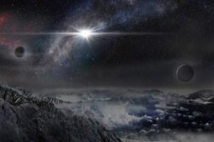 Recreacíon artística de la supernova ASASSN-15lh tal y como sería vista desde un exoplaneta localizado a unos 10.000 años luz de distancia en la galaxia en la que se ha producido. Crédito: Beijing Planetarium / Jin Ma
