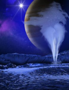 Concepto artístico de una columna de agua en Europa, con Júpiter y el Sol en el cielo. Crédito: NASA/ESA/K. Retherford/SWRI