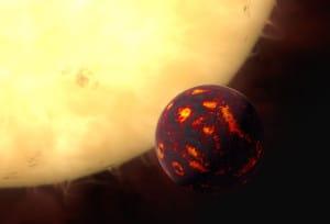 Concepto artístico que muestra a 55 Cancri e en frente de su estrella. Crédito: ESA/Hubble, M. Kornmesser