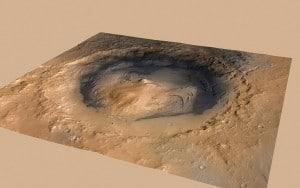 Esta imagen muestra el cráter Gale y el lugar en el que aterrizó el rover Curiosity (el punto verde). Crédito: NASA/JPL-Caltech/ESA/DLR/FU Berlin/MSSS