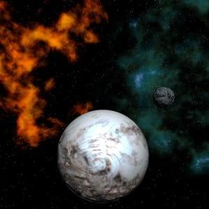 Esta es la representación de Antaria, el planeta de origen de la mayor parte de los protagonistas de la novela. Crédito: Alejandro Riveiro