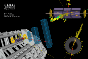 Imagen de un evento de Higgs. Crédito: Bianchi, Riccardo Maria, CERN