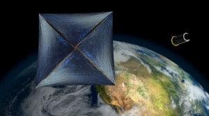 Una ilustración muestra la nanonave de Breakthrough Starshot, desvelada en una rueda de prensa el 12 de abril de 2016. Crédito: Breakthrough Prize Foundation