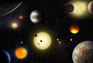 Este concepto artístico muestra diferentes descubrimientos planetarios hechos hastas la fecha con la ayuda del telescopio Kepler de la NASA. Crédito: NASA/W. Stenzel