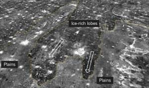 Estos lóbulos podrían ser las marcas que quedan de aquel segundo tsunami, que se hubiera producido cuando el planeta era más frío. Crédito: A. Rodriguez
