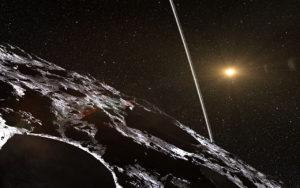 Impresión artística del aspecto que podrían tener los anillos de Cariclo vistos desde la pequeña superficie del centauro. Crédito: ESO/L. Calçada/Nick Risinger