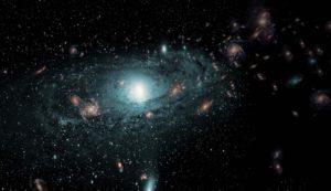 """Recreación artística de las galaxias que se encuentran en la """"Zona de exclusión"""" de la Vía Láctea (aquella zona del Universo que no podemos observar porque la obstruye nuestra propia galaxia). Crédito: International Centre for Radio Astronomy Research"""