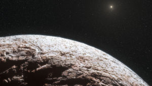 Concepto artístico de la superficie de Makemake, un planeta enano del Sistema Solar. Crédito: AP Photo/European Southern Observatory/Nature