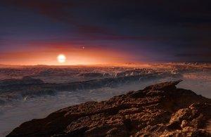 Concepto artístico de la superficie de Próxima b. En el horizonte se puede ver a Próxima Centauri y, en la lejanía, al sistema binario que forman Alfa Centauri A y B. Crédito: ESO/M. Kornmesser