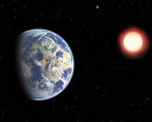 Este concepto artístico muestra una enana roja orbitada por un planeta habitable. Crédito: Christine Pulliam (CfA).