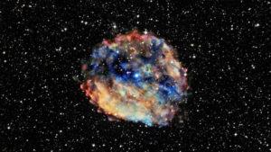 Imagen visible (y de rayos X), de RCW 103, la supernova en la que se encuentra 1E 1613, el púlsar más lento que hayamos descubierto hasta la fecha. Crédito: Rayos X: NASA/CXC/University of Amsterdam/N.Rea et al; Óptico: DSS