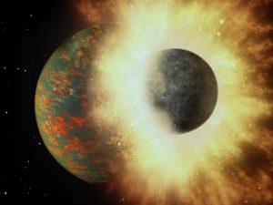 Recreación artística de una colisión entre la Tierra, poco después de su formación, y un planeta de un tamaño similar al de Mercurio. Crédito: A. Passwaters/Rice University based on original courtesy of NASA/JPL-Caltech.