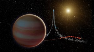 Concepto artístico de una enana marrón y el gráfico que provoca al distorsionar la luz de una estrella. Crédito: NASA/JPL-Caltech