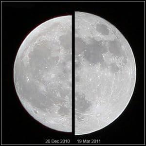Comparación entre el tamaño de la Luna el 20 de diciembre de 2010 (izquierda) y la superluna del 19 de marzo de 2011 (derecha). Crédito: Wikimedia Commons/Marcoaliaslama