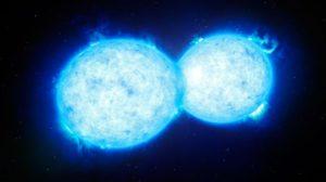 VFTS 352 el sistema doble más masivo y cálido que se ha encontrado hasta la fecha. Ambas estrellas se tocan y comparten material. Crédito:. ESO/L. Calçada