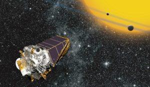 Concepto artístico del telescopio Kepler observando exoplanetas en tránsito por delante de su estrella. Crédito: NASA Ames/W Stenzel