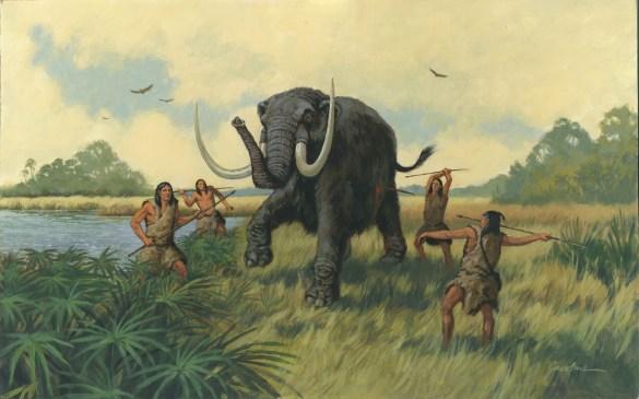 Ilustración de ancestros del ser humano cazando.